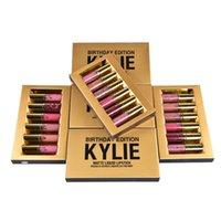 Hot Kylie Cosmetics Matte Liquide Lipstick Mini Kit Édition Anniversaire Lip Limited Avec la boîte d'or 6pcs / set Lip Gloss DHL Free MR022