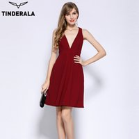 TINDERALA women sleeveless deep V Neck halter dress elegant ...