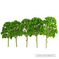 Оптово Поезд Макет сада Декорации Wargame Пейзаж 5 шт Дерево модели около 15 см пластиковая модель деревья Игрушки для детей