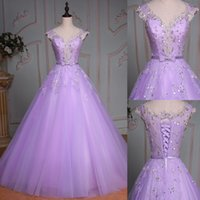 Lilac Quinceanera Dresses 2017 Real Photo Sweep Train A- Line...