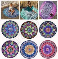 Redonda Mandala toallas de playa Impreso Tapestry Hippy Boho Mantel Bohemio toalla de playa Serviette Cubre Playa Shawl Envuelva Yoga CCA5613 100pcs
