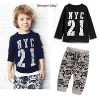 Toddlers Baby Boys Girls Cotton Long T- Shirt + Pants Suits ...