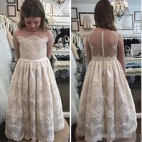 Платье для девочек с длинным рукавом длиной 2017 для свадебных кружев Appliqued Jewel Neckline Первое платье для общения