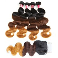 Ombre Hair Bundles With Lace Closure Body Wave T1b 4 27 Remy...