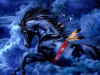 АВТОРЕФЕРАТ WILD HORSE INDIANS-, Pure расписанную Аннотация животных искусства картина маслом на размер Canvas.customized принят, Studi