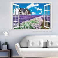 60*90cm Warm Romantic 3D False Window Scenery Lavender Flowe...