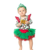 Baby Girls Christmas Rompers Sets Newbown Lace Jumpsuit+ Head...