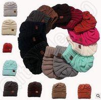 13 цветов Женщины CC Модные Beanie Кабельные сутулятся Beanies Зимняя вязаные шерстяные шапки Крупногабаритные Коренастый шапочка Открытый Hat CCA5418 200pcs