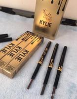 Lápiz de la pluma de la ceja del delineador de la ceja del ojo del oro impermeable de la edición del cumpleaños de Kylie con la herramienta cosmética del diseño del maquillaje del cepillo 5 colores