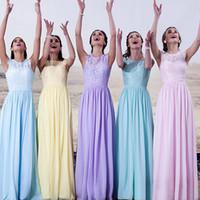 Красочные Длинные платья невесты Вечерние платья Jewel Назад Zipper Элегантный Sheer Кружева Корсет Короткие рукава блокированного выполненные на заказ вечерние платья