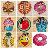 Round Polyester Beach Mat Crâne Ice Cream Strawberry Smiley Emoji Pineapple Pie Watermelon Beach Serviette de bain Serviette de yoga 100pcs KKA1431