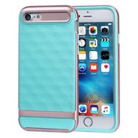 Pour iPhone 7 Slim Cas de conception géométrique [Bourgogne] [Poignée texturée] Shockproof TPU PC Bumper Cover Pour iphone6 6 7 plus