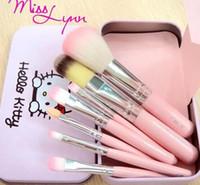 2017 Free DHL New Hello Kitty 7 Pcs Mini Makeup brush Set co...