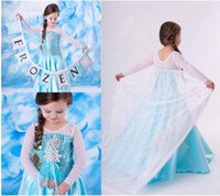 Blue Frozen Elsa Princess Dresses for Girls Long sleeve Floo...