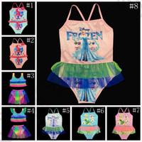 Дети Тролли Замороженные бикини мультфильм новорожденных девочек Купальники One Piece Купальники Купальники пляж купальники 10 образцов OOA1121
