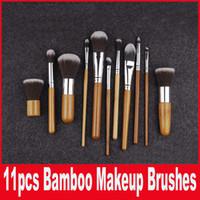 1lot = 11PCS Косметический набор кистей бамбуковой ручкой Кисть наборы Синтетический Макияж кисти макияж инструменты кисти принадлежности facebrush и eyebrush