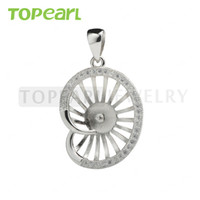 9PM170 Teboer Jewelry 3pcs / LOT Pendentif Zircon en blanc 925 Sterling Silver Semi Mountings pour Bijoux DIY