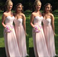 Элегантный Bridesmaids +2017 платье Милая Кружева шифон свадебного платья Blush Цветные Длинные платья невесты Robe De d'Honneur