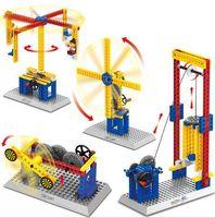 Assembling teaching mechanical group electric building block...