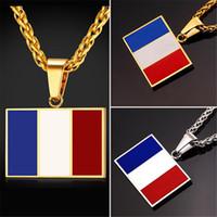 U7 New Hot Fashion France Collier pendentif en drapeau national Bijoux en acier inoxydable / plaqué or Patriot French Banner Necklace Women / Men GP2444