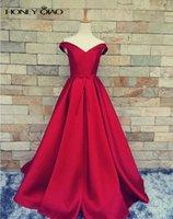 Красный Вечерние платья атласная линия платья партии V шеи +2017 Pleats Этаж Длина платьев выпускного вечера