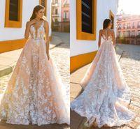 2017 New Fashion Wedding Dresses Spaghetti Lace Applique Swe...