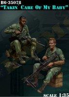 Оптово Неокрашенная Kit 1/35 войны во Вьетнаме такин уход за моим ребенком включают в себя 2 солдата Второй мировой войны исторический рисунок Resin Kit Бесплатная доставка