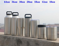 12/18/20/30/36 / 64oz Coupe Tasses Inox 18oz 36oz 64oz avec des verres de couvercle Bouteille Colster Mug Livraison gratuite