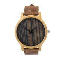 Designer Montres Homme en bois Quartz Hommes Montre occasionnels en bois Marron Couleur Noir Stripe Bracelet en cuir Montre en bois Montre-bracelet