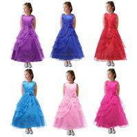 Kids Wedding Bridesmaid Dresses Girls Flower Embroidered Dre...