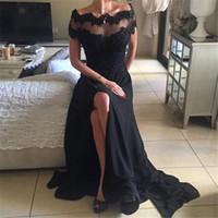 Сексуальное черное с плеч Пром платья 2017 года Кружева Аппликации Sequined Короткие рукава Сплит Длинные вечерние платья