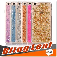 Pour Iphone 7 7 plus cas 6s Soft TPU Clear Cases Luxe Bling Sparkle Faceplate Colorful Leaf Design Semi-transparente Flexible Soft GEL Case