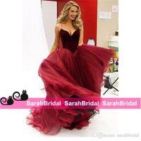 Hotsale Pageant Вечерние платья для особых случаев 2016 Формальное Bridal Party Wear Дешевые Продажа Burgundy Wine Red Velvet Пром платье возлюбленной