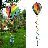 Striped Rainbow Windsock Hot Air Balloon Wind Spinner Garden...