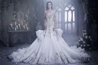 Новый стиль 2017 года Элегантные Свадебные платья Русалка с кристаллом шнурка Ruched Rhinstone Искра Свадебные платья Дубай Vestidos De NOVIA выполненном на заказ