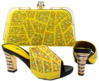 New Arrival Yellow Color Shoes and Bag Set African Wedding S...