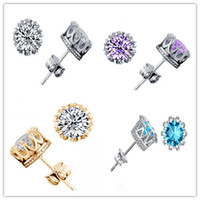 NOUVEAU Boucles d'oreilles en argent sterling 925 diamants couronne en cristal naturel en gros mode petit bijoux pour femmes ou hommes cadeau d'engagement de mariage
