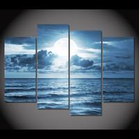 4 шт. Холст Живопись Полнолуние океана HD Печатные картины на холсте Настенные рисунки для дома Декор постеров для гостиной XA160D