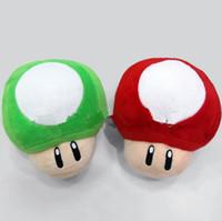 Vermelho verde Mario Bros cogumelo pelúcia boneca de pelúcia brinquedo cartoon pelúcia macio pelúcia brinquedos pingentes boneca 17 centímetros PPA765