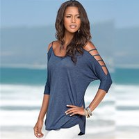 New Arrival Summer Scoop Neck Woman T Shirts Hollw OUt shoul...
