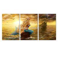 3 Панно Прекрасная принцесса Картины Русалки Русалка Картинки На холсте Настенная живопись для домашнего декора (деревянный каркас)