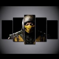 5 шт / набор в рамке HD печатных комиксов Mortal Kombat фильм плакат картина стены искусства декор холст игры Современная живопись маслом