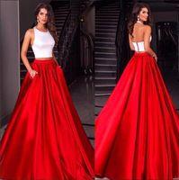 2017 Новый элегантный белый и красный Два кусочка Пром платья Холтер шеи Sexy Backless линия длины пола с кармашками Вечерние платья BA4212