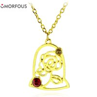 10PCS Lot High Quality Beauty and The Beast Rose Necklace Pe...