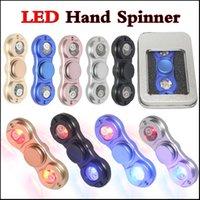 En stock Luz LED Fidget Spinner Spinner de mano Tri Fidget Aleación de aluminio Metal Juguete Reductor de estrés Focus Toy EDC juguete para niños Adultos