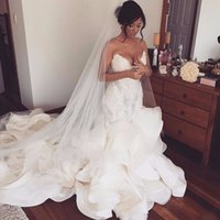 High Quality Lace Applique Organza Mermaid Wedding Dresses 2...
