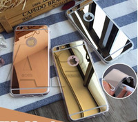 Pour Iphone 7 Étui miroir IPhone 7 Plus 6S Plus Miroir arrière S7 Amortisseur TPU pare-chocs Anti-Scratch Bright Reflection Housse de protection