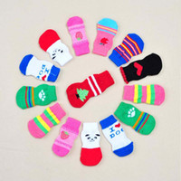 20sets lot Mixed color cotton Nonskid pet dog socks Warm ski...