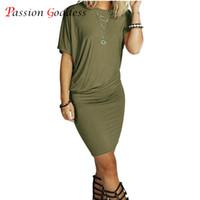 Оптово-новый размер плюс 2016 летних женщин длинная майка платье O шею коротким рукавом твердых пакет хип мини короткое платье вскользь черный ArmyGreen