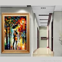 Современная гостиная спальня тротуара простой стиль декора холст картина маслом высокого качества цветовая палитра густое масло нож покраска JL434
